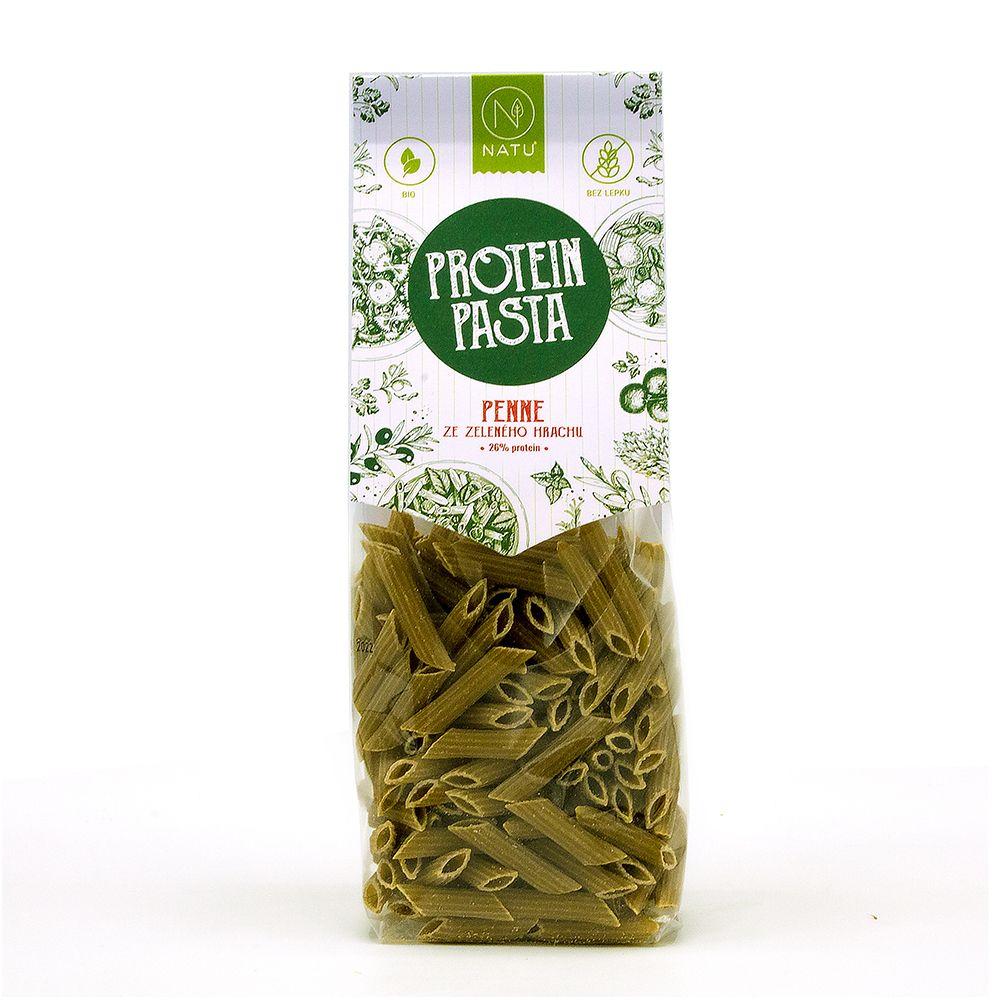 NATU Protein Pasta Penne zelený hrách BIO 250 g