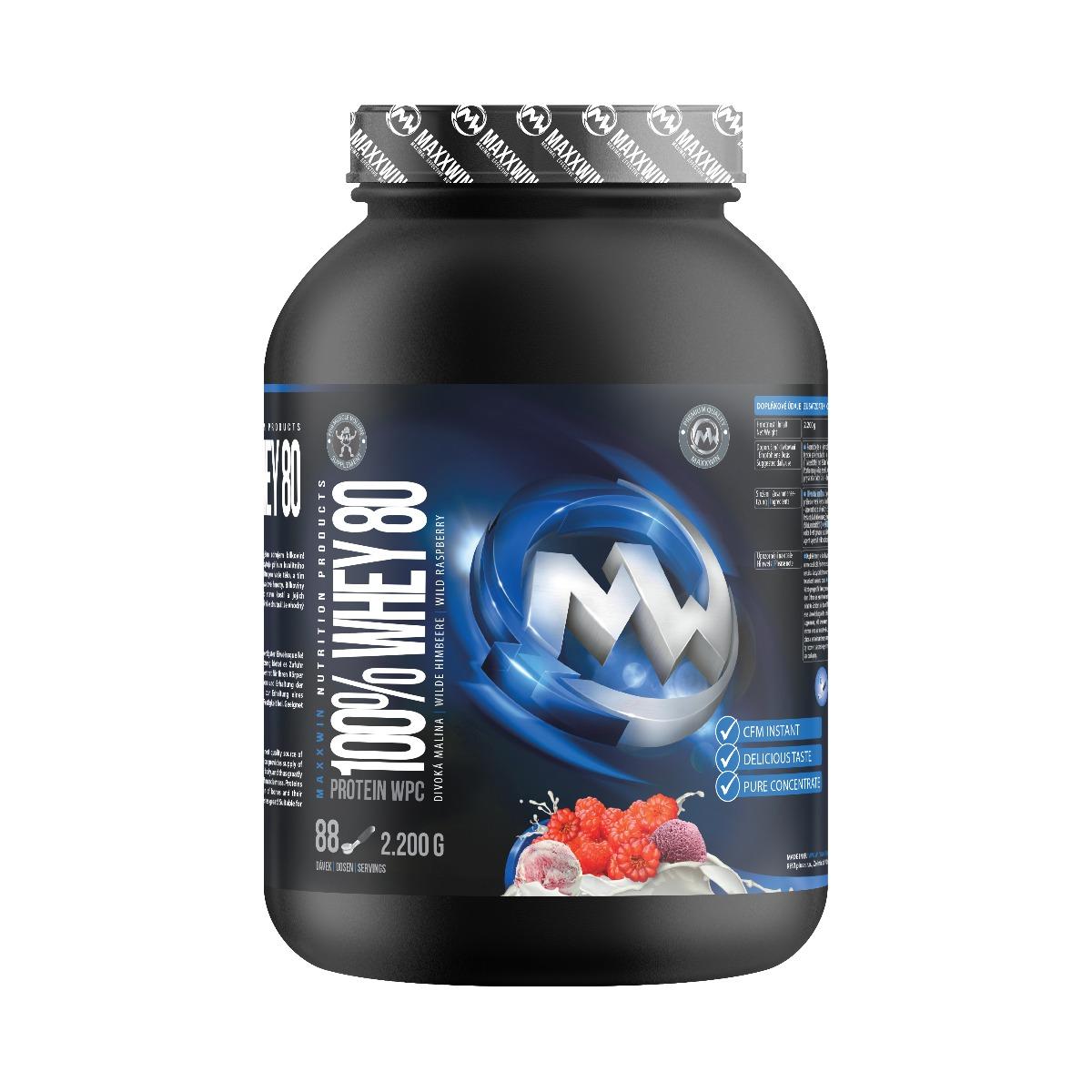 MAXXWIN 100% WHEY 80 divoká malina 2200 g