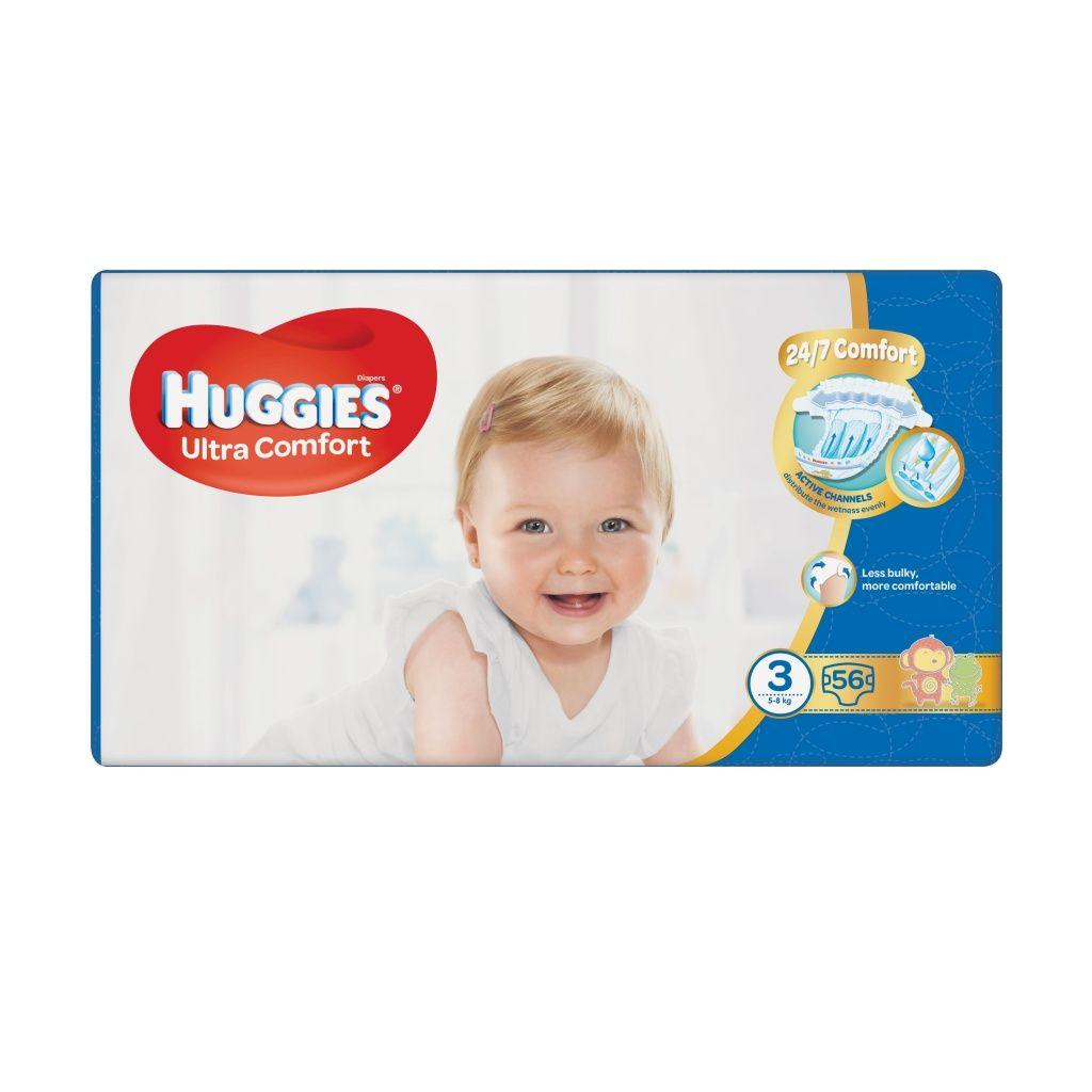 Fotografie HUGGIES Ultra Comfort Jumbo vel.3 5-8kg 56 ks