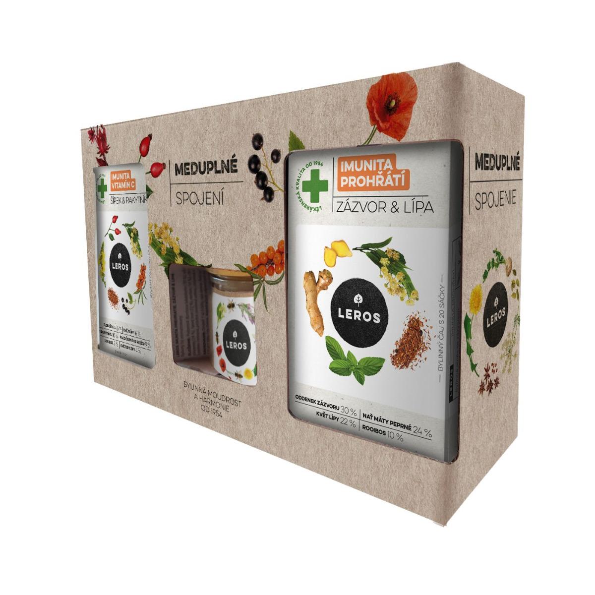 Leros Meduplné spojení bylinný čaj 2x20ks + med 200 g