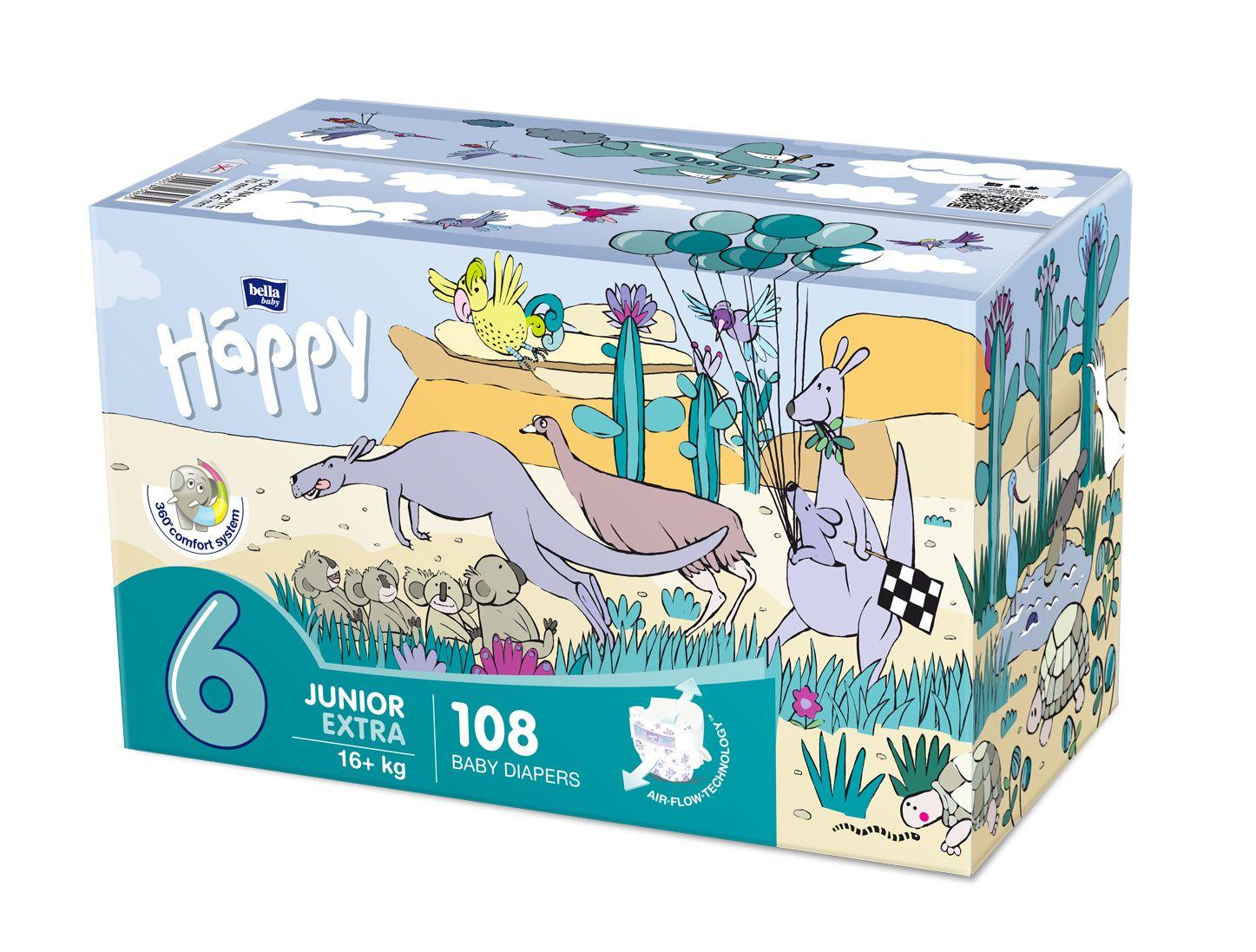 Bella Baby Happy Junior Extra 16+ kg dětské plenky box 2x54 ks