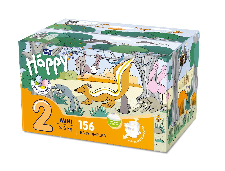 Bella Baby Happy Mini 3-6 kg dětské plenky box 2x78 ks