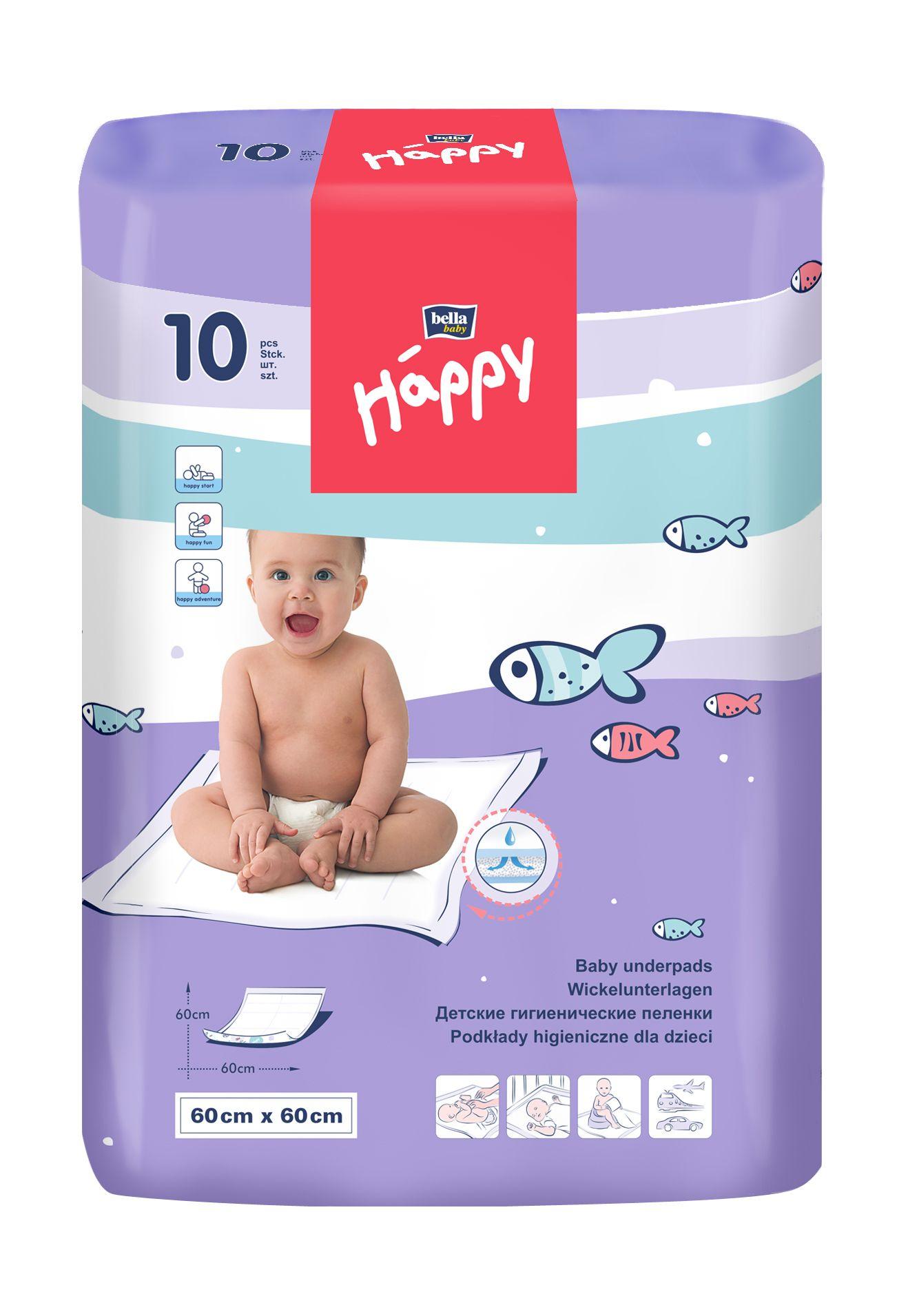 Bella Baby Happy Přebalovací podložky 60x60 cm 10 ks