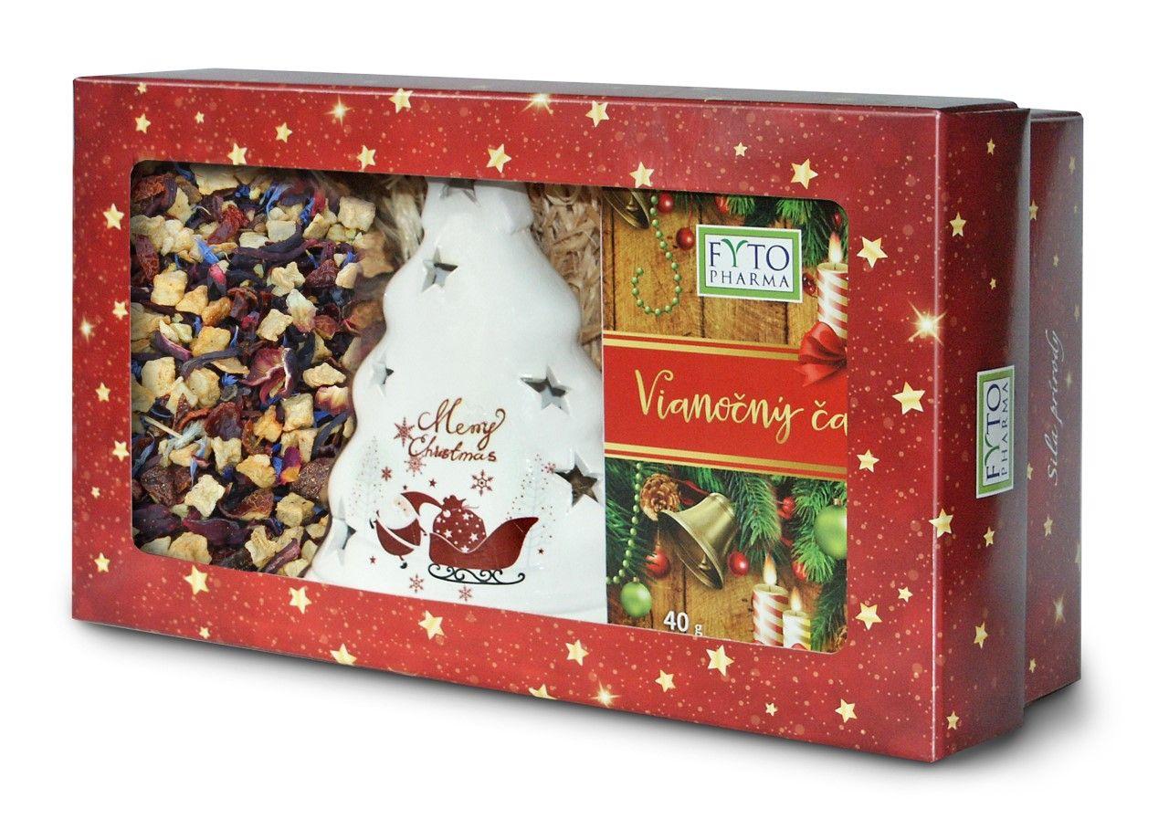 Fytopharma Vánoční čaj sypaný + porcovaný + svícen dárkový set