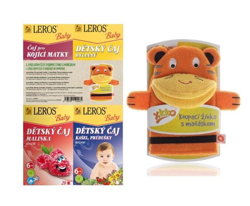 Leros Baby Dětské čaje mix 4x20 sáčků + žínka