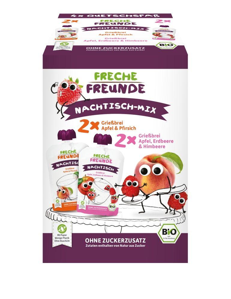 E-shop Freche Freunde BIO MIX 2 druhy Krupice s jablkem, jahodou, malinou a broskví 4x100 g