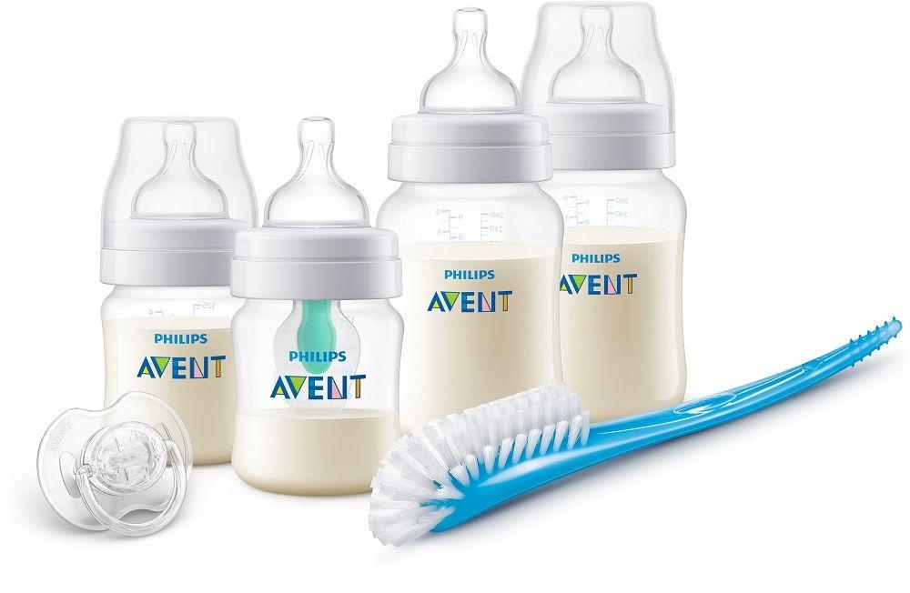 Avent Anti-colic Novorozenecká startovací sada 4 láhve + kartáč + šidítko