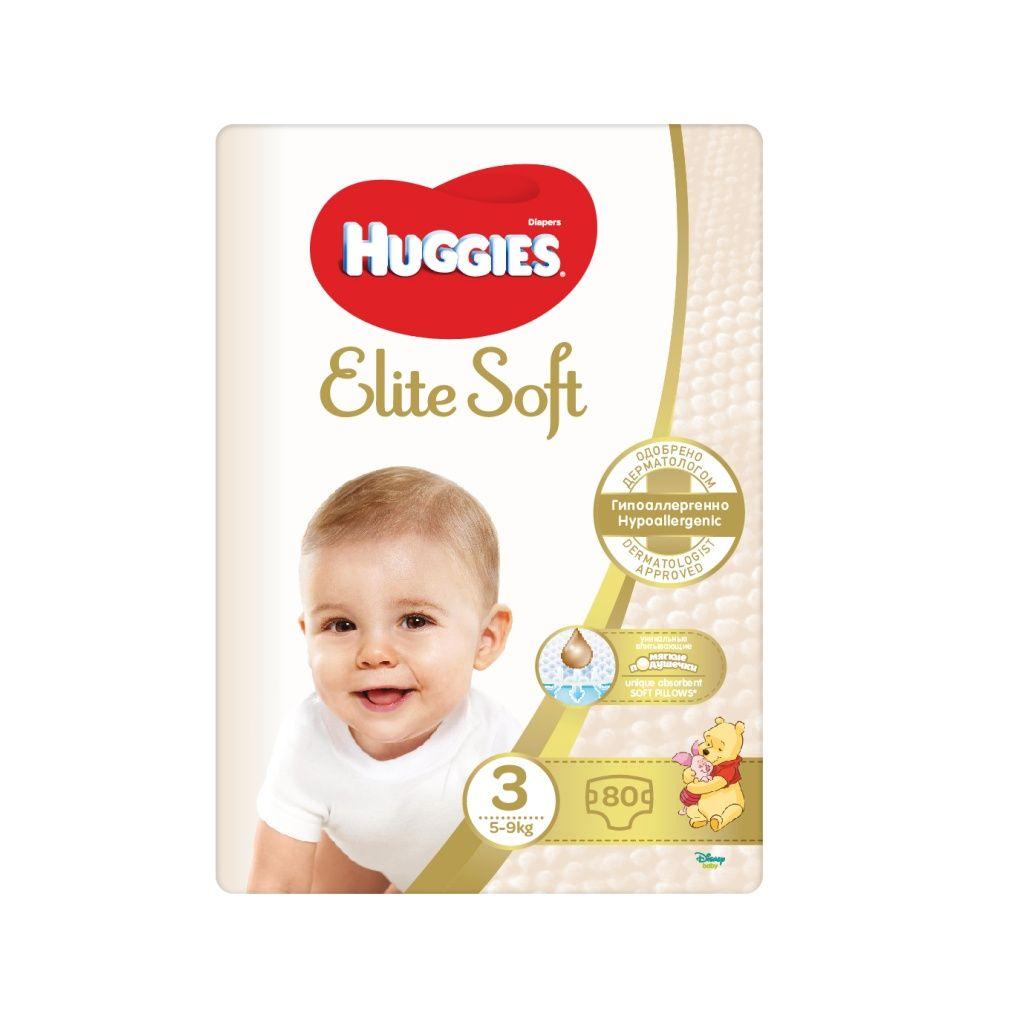 E-shop Huggies Elite Soft 3 5-9 kg dětské pleny 80 ks