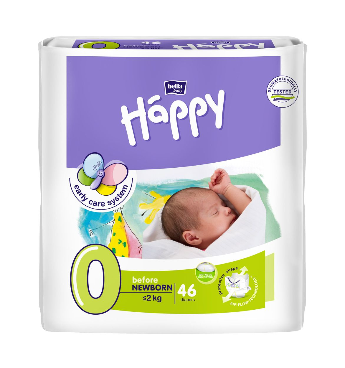 Bella Baby Happy Before New Born do 2 kg dětské plenky 46 ks
