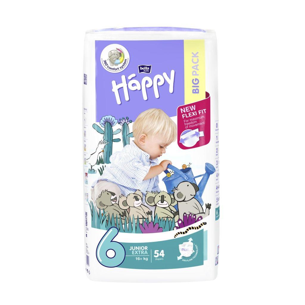 Bella Baby Happy Junior Extra 16+ kg dětské plenky 54 ks