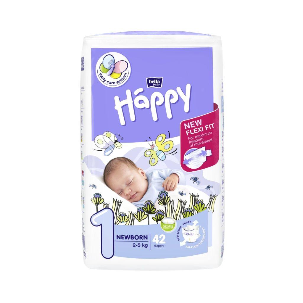 Bella Baby Happy Newborn 2-5 kg dětské plenky 42 ks
