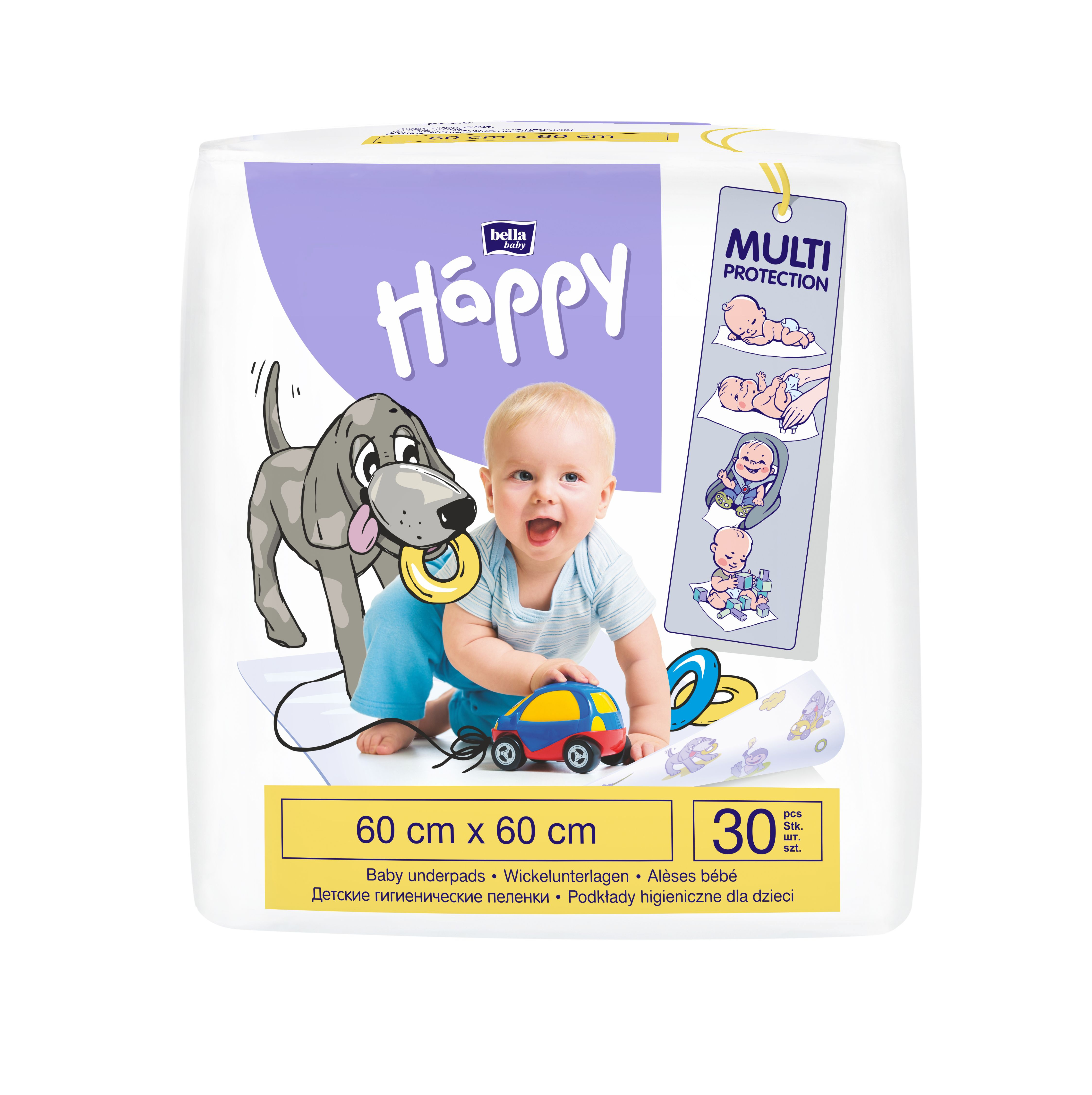 Bella Baby Happy Přebalovací podložky 60x60 cm 30 ks