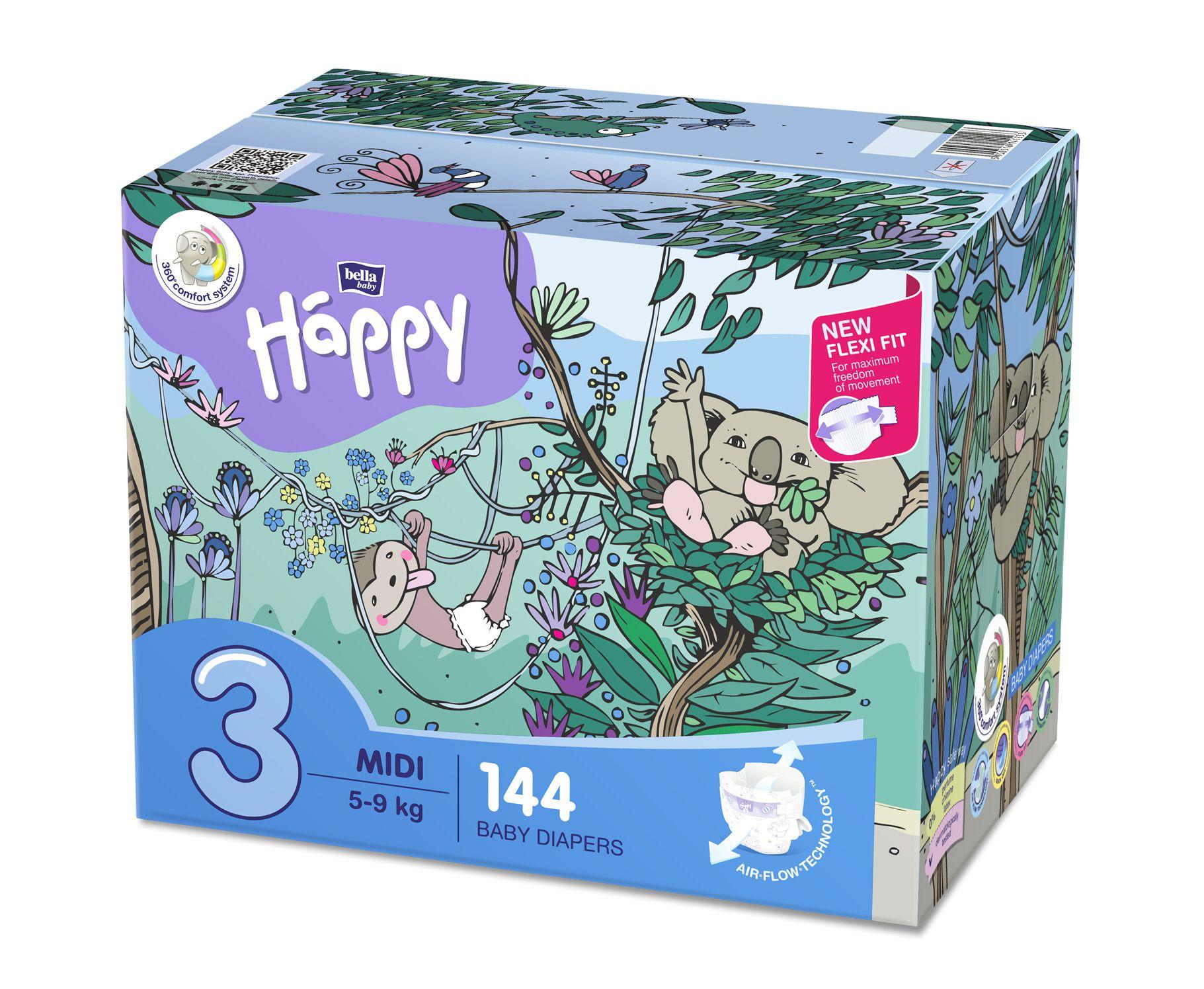Bella Baby Happy Midi 5-9 kg dětské plenky box 2x72 ks