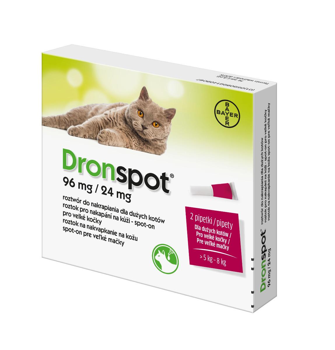 Dronspot 96 mg/24 mg pro velké kočky spot-on 2x1,12 ml