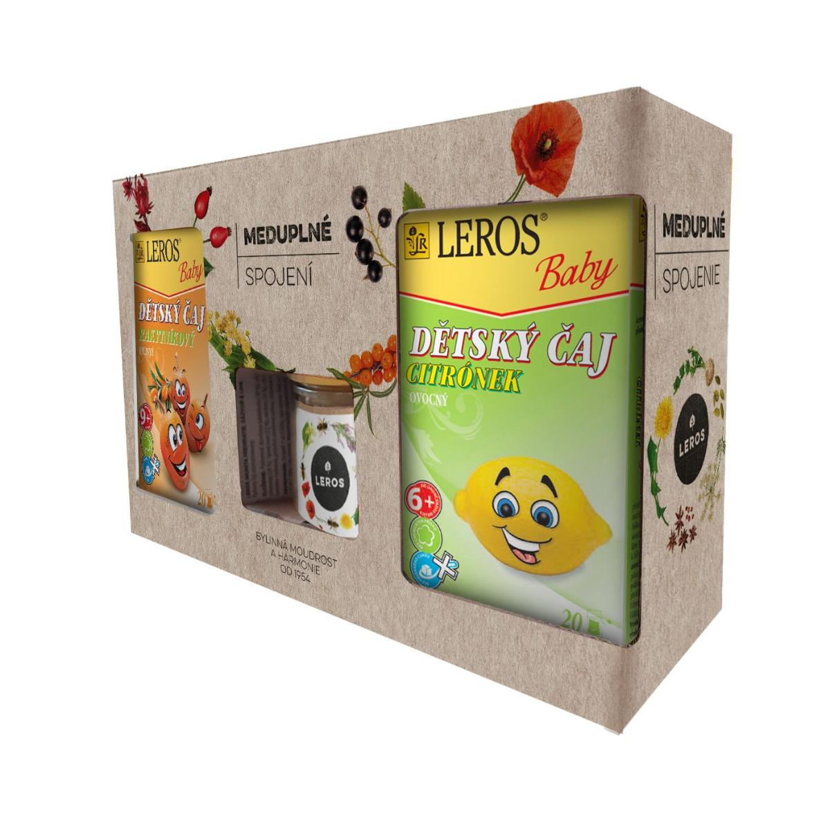 Leros Meduplné spojení dětský čaj 2x20ks + med 200 g