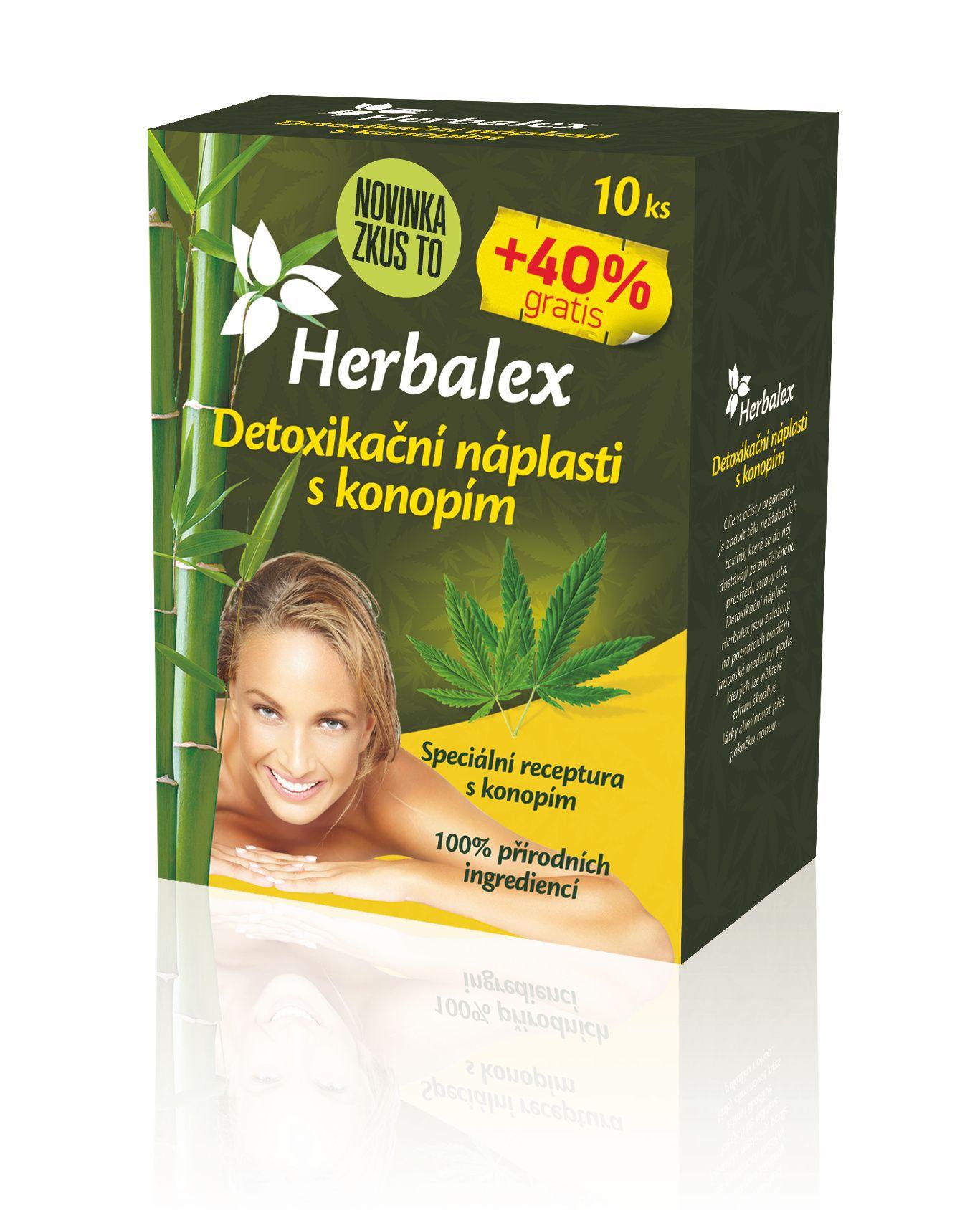 Herbalex Detoxikační náplast s konopím 10 ks + 40 % zdarma