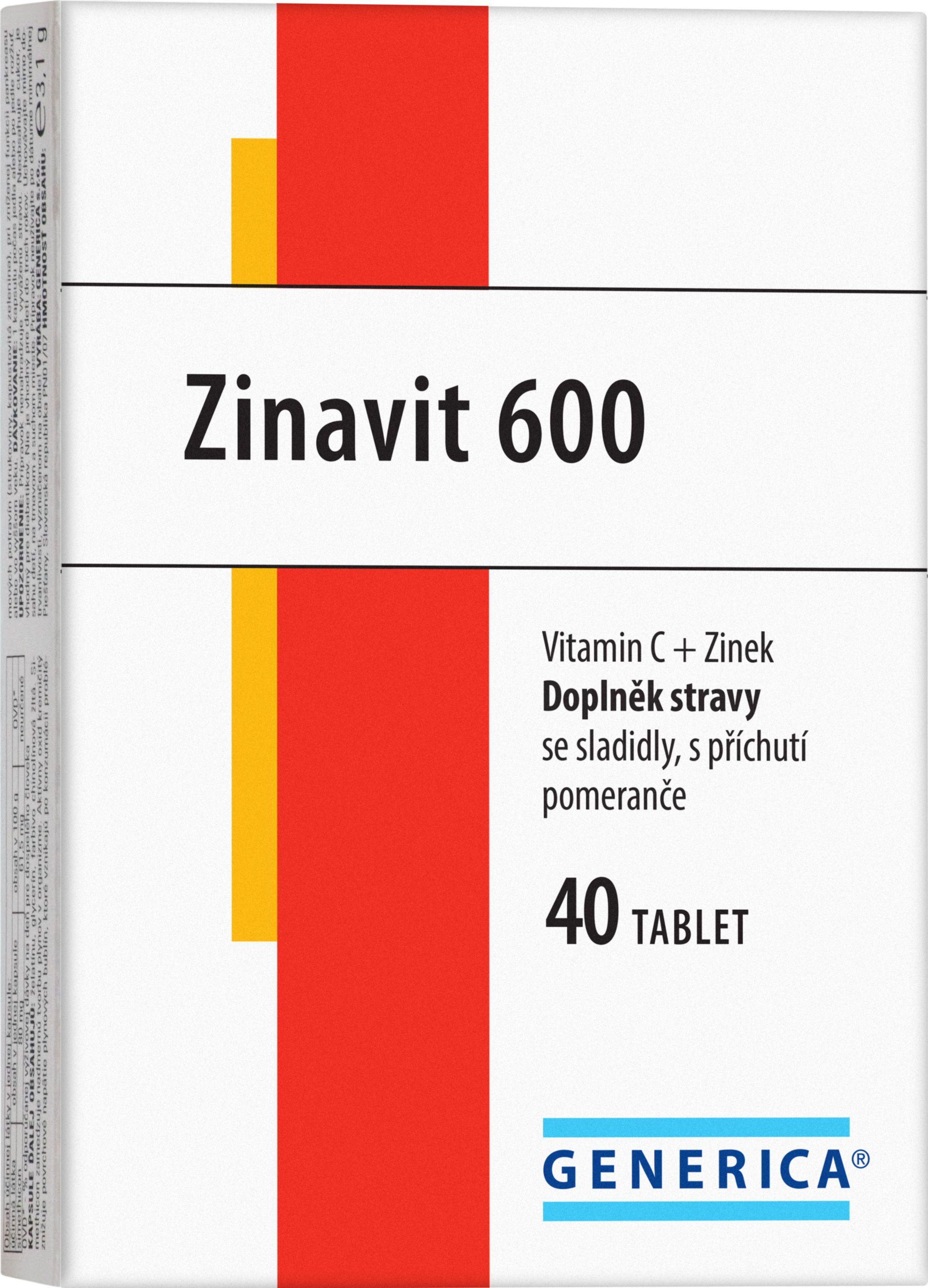 Generica Zinavit 600 40 cucavých tablet